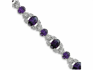 Sterling Silver Purple and Clear Cubic Zirconia Vintage Style Bracelet