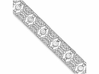 Sterling Silver Vintage Style Cubic Zirconia Bracelet