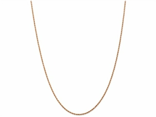 9 Inch 14k Rose Gold 1.5mm bright-cut Rope Chain Ankle Bracelet (Smaller Ankles)