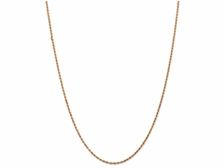 10 Inch 14k Rose Gold 1.8mm bright-cut Rope Chain Ankle Bracelet