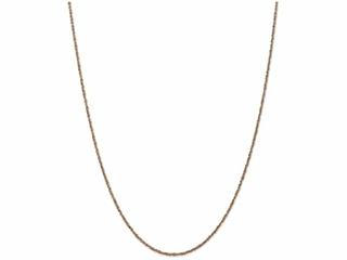 10 Inch 14k Rose Gold 1.7mm Ropa Chain Ankle Bracelet