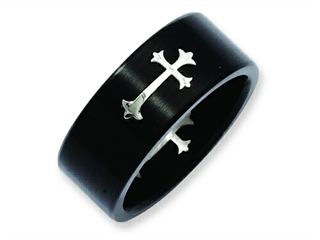 Chisel Stainless Steel Brushed Black Ip-plated With Cross 9mm Weeding Band thumbnail