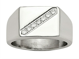 Chisel Stainless Steel Polished Men's CZ Ring thumbnail