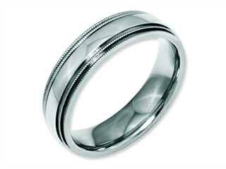Chisel Stainless Steel Grooved And Beaded 6mm Polished Weeding Band