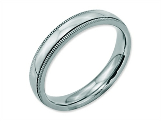 Chisel Stainless Steel Grooved And Beaded 4mm Polished Weeding Band