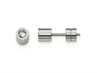Chisel Stainless Steel CZ June Birthstone Polished Post Earrings