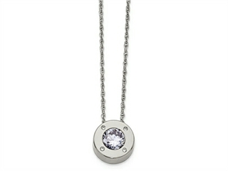 Chisel Stainless Steel Polished CZ June Birthstone Necklace
