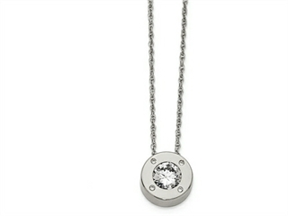 Chisel Stainless Steel Polished CZ April Birthstone Necklace