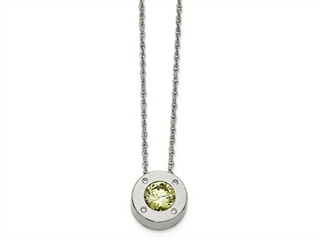 Chisel Stainless Steel Polished CZ August Birthstone Necklace