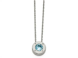 Chisel Stainless Steel Polished CZ December Birthstone Necklace
