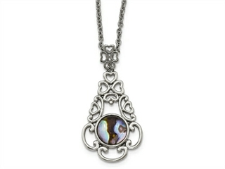 Chisel Stainless Steel Polished Imitation Abalone W/2in. Ext Necklace