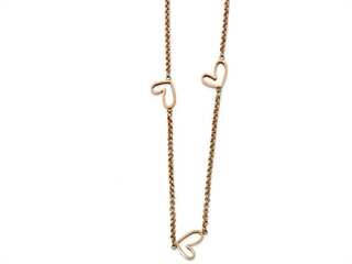 Chisel Stainless Steel Polished Rose Ip-plated Hollow Heart Charm Necklace
