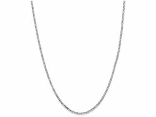 10 Inch 14k White Gold 2.4mm Flat Figaro Chain Ankle Bracelet