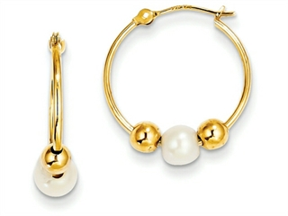 14k Polished Hoop With (5-6mm) Freshwater Cultured Pearl Earring
