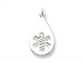 Sterling Silver Medical Jewelry Non-enameled Pendant Necklace - Chain Included