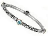 Phillip Gavriel 18K Yellow Gold and Sterling Silver Bangle With Four Blue Topaz Gems Style #460071