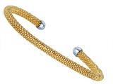 Sterling Silver 4mm Yellow Plated Adjustable Beaded Bangle Style #460089