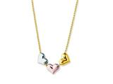 14K Yellow Gold Tri-Color 3 Floating Hearts Pendant on a 17 Inch Chain Style #460260