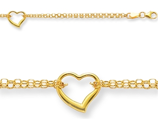 10 Inches 1 Hearts Ankle Bracelet