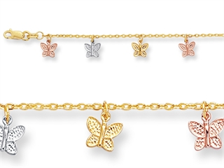 10 Inches 12 Butterfly Adjustable Ankle Bracelet