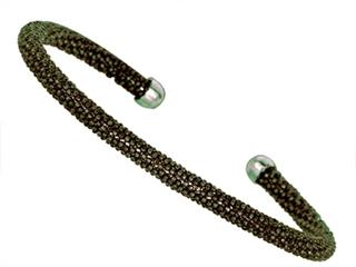 Sterling Silver 4mm Black Rhodium Adjustable Beaded Bangle