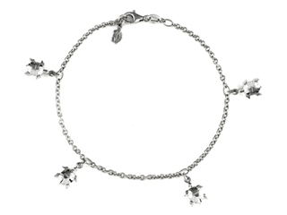 10 Inches 5 Turtles Ankle Bracelet