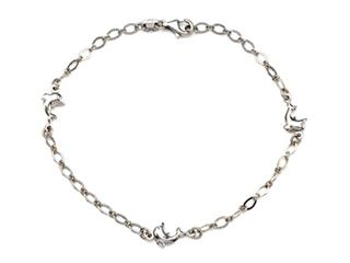 Sterling Silver 10 Inches 3 Dolphins Adjustable Ankle Bracelet