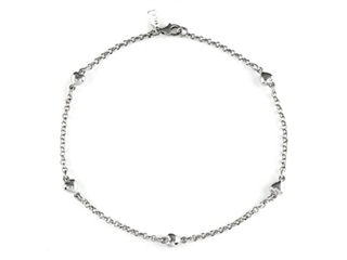 Sterling Silver 10 Inches 5 Hearts Ankle Bracelet