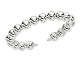 Rhodium Plated 10mm Round Bead Cuff Bangle