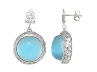 Sterling Silver Light Blue Round Simulated Cat's Eye Drop Earrings