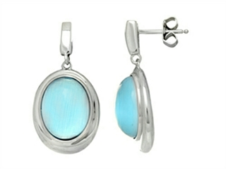 Sterling Silver Light Blue Oval Simulated Cat's Eye Drop Earrings