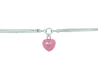 Silver with Rhodium Finish Shiny Rose Puffed Heart and 3-White Rings On 3-Strand Oval Rolo Chain Necklace