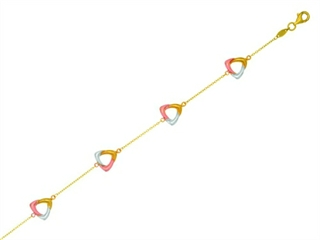 14 kt Yellow, Rose and White Gold Shiny Cable Chain Bracelet with 4 Tri-Color Open Triangles