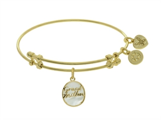 Brass With Yellow Oval Grand Mother Charm With Created Mop On Yellow Angelica Collection Bangle