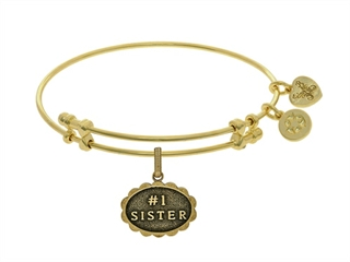 Angelica Collection Brass With Yellow Finish #1 Sister Charm For Angel Ica Bangle