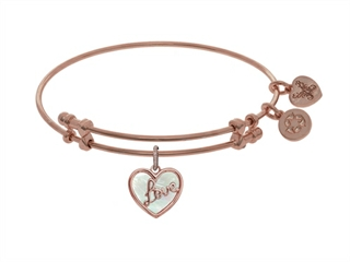 """Angelica Collection Brass With Pink """"love"""" Heart Charm With Created Mother Of Pearl On Pink Bangle"""