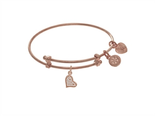 Pink Finish Expandable Tween Brass Bangle CZ Heart On Pink Angelica Collection Tween Bangle
