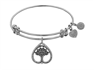 "Angelica Collection Antique White Stipple Finish Brass ""tree Of Life"" Expandable Bangle"