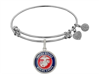 Angelica Collection Brass with White Finish Enamel U.S. Marine Corps Round Expandable Bangle thumbnail
