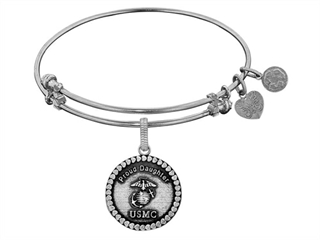 Angelica Collection Brass with White Finish Proud Daughter U.S. Marine Corps Round Expandable Bangle thumbnail