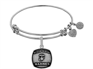 Angelica Collection Brass with White Finish Proud Sister U.S. Marines Expandable Bangle thumbnail