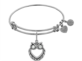 Brass Smooth Antique Yellow Finish Owl Charm On White Angelica Collection Bangle