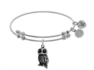 Brass With White Owl Enamel Charm On WhiteAngelica Bangle