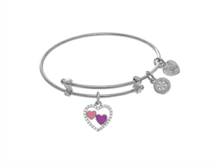 Angelica Collection White Finish Expandable Tween Brass Bangle With Re D and White Enamel Heart With White Cubic Zirconi