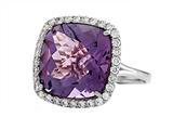 Anti Tarnish Sterling Silver 14mm Cushion Cut Amethyst and Round White Sapphire Ring Style #1004A