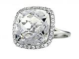 Anti Tarnish Sterling Silver 14mm Cushion Cut White Quartz and Round White Sapphire Ring Style #1004
