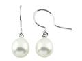 7.5mm White Freshwater Rice Cultured Pearl Fishhook Earrings