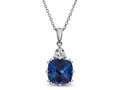 10x10 Antique Shaped Created Blue Sapphire and White Sapphire Pendant- 18 Inch Rope Chain Included