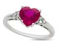 8x8mm Heart Shaped Created Ruby and White Sapphire Ring