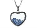 Floating March Birth Months Simulated Aquamarine Heart Shape Sterling Silver Glass Pendant